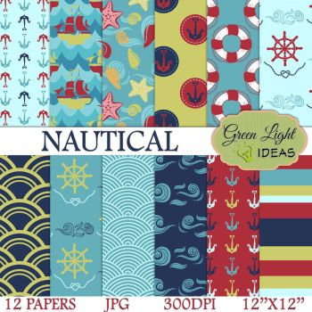 Nautical Digital Papers by GreenLightIdeasGLI