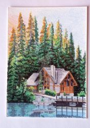 Cabin on the Lake by Moni3
