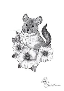 Chinchilla in flowers by CandyMermaid