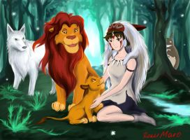 Crossover: Mononoke Hime and The Lion King by RokuMaro