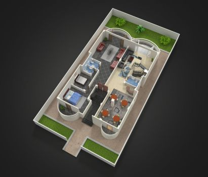 Chalet's 3D general floor plan by abdollah4ever