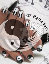 piano and yinyang nail by YEYUniqueNail