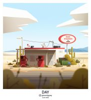 Gas station. Day. by gloomilygray