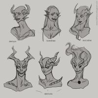 Demon heads concept art by telthona