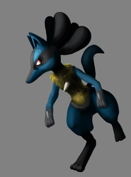 Lucario art trade by Hot-dog-cat