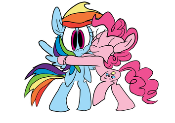 A Hug from Pinkie by WaggonerCartoons