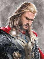 Colored Pencil Drawing: Chris Hemsworth as Thor by JasminaSusak