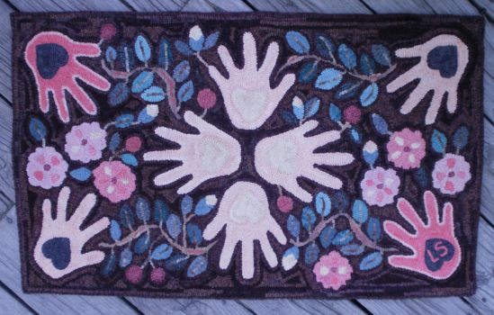 Heart and Hand Hooked Rug by threehollys