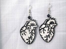 Hand painted Anatomical Human Heart Earrings by TanzenLilly