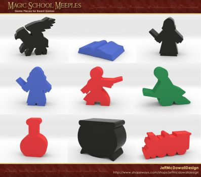 Magic School Meeple Game Pieces by jeffmcdowalldesign