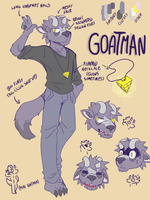 Goatman ref sheet by TaggedInBlue