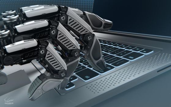 Robot Fingers on Laptop by Vitaly-Sokol