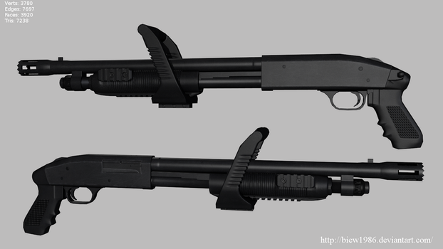 Chainsaw Shotgun Low poly by biew1986