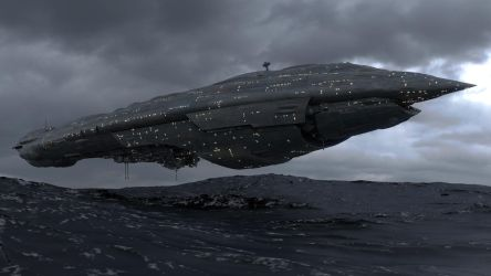 Cruiser Over Mon Calamari by enderianc