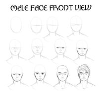 Tutorial: Male Face Front View by KitWilkins