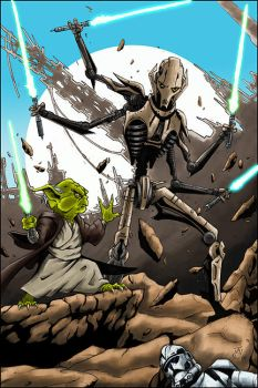 Yoda vs General Grievous by g45uk2