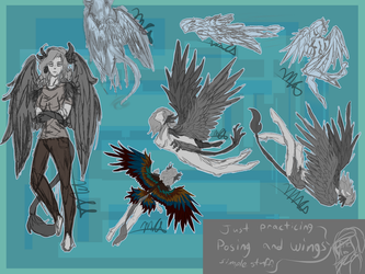 Posing + Wings Sketches by MutantAlicorns