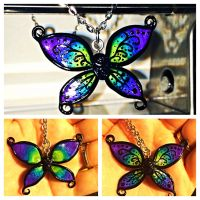 Peacock Butterfly necklace by LittleCLUUs