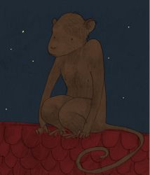 a chimpanzee on the roof by humya