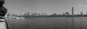 Boston Harbor Panorama in black and white by caspercrafts