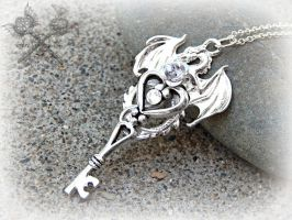 Silver and Crystal Moon Dragon Key Necklace by ArtByStarlaMoore