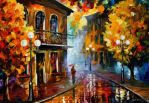 Fall Rain by Leonid Afremov by Leonidafremov