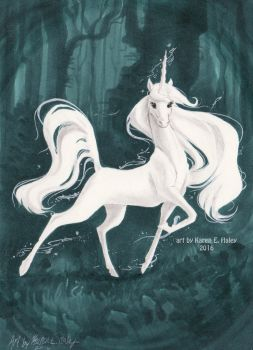 White Unicorn One Marker Challenge by karookachoo