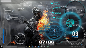 Fire-Skull Battlefield Rainmeter skin v2.1 by TLT by The-Living-Tech