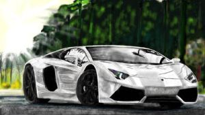 A Lamborghini Aventador in white  by 000Dani000