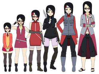 Sarada Age Progression (FanArt) by Khorvuss