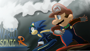 Mario and Sonic Riders by kjshadows131