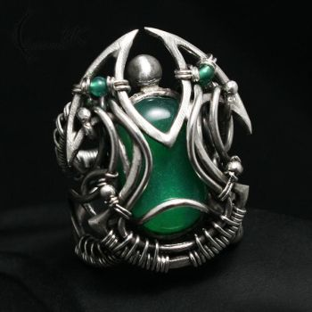 EHXETRIUM Silver and Green Onyx by LUNARIEEN