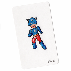 Captain America Sketchcard Mini Color by tekitsune