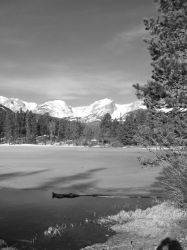 Black and White Mountain Scene by ElkStarRanchArtwork