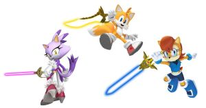 Sally, Tails and Blaze with Lightsabers by Big-Al-Son86