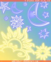 Sun, Moon and Stars Brushes by Coby17