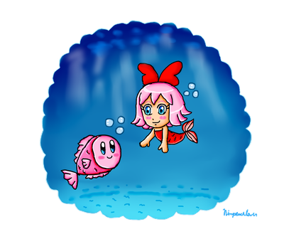 Mermaid Ribbon and fish Kirby by ninpeachlover