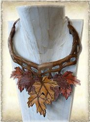 Leather necklace M25-2a by Eternal-designs-com