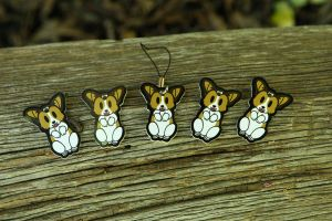 Corgi Cellphone Charms by BetaTestedRobot
