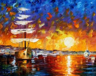 The Sunset Sailer by Leonid Afremov by Leonidafremov