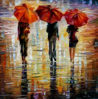 Three Red Umbrellas by Leonid Afremov by Leonidafremov