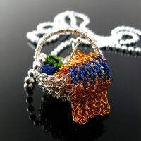 Yarn basket pendant with scarf by CatsWire