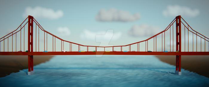 Low Poly Golden Gate by blenderednelb