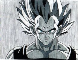 Vegeta grayscale by Stephr0x0rs