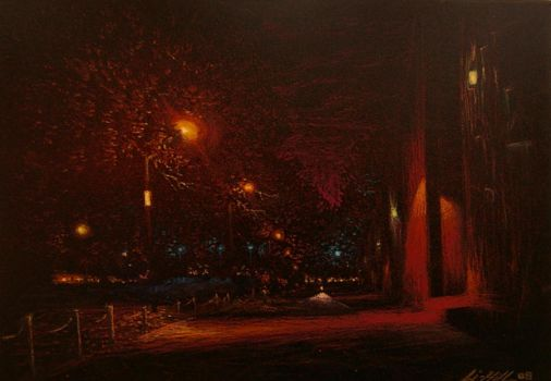 park by night by AaronLi-Hill
