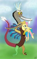 MLPt:  Disaustro and Flutterdactylus by ZoPteryx