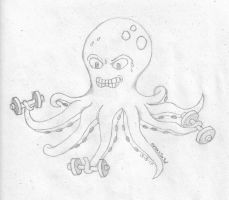 octopus at gym by Ana-Threepwood