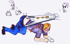 RE4 Leon wedgie by Black-Chocobo99