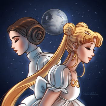 Princess Leia + Princess Serenity by daekazu
