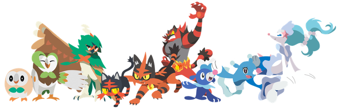 Pokemon Sun and Moon Starters and Evos - Vectors by firedragonmatty